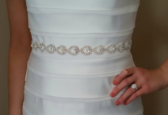 Mariage - Bridal Sash, Rhinestone Sash, Teardrop, Bridal Belt, Wedding Sash, wedding Belt, ribbon, bridal