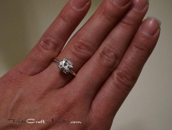 زفاف - Old Mine Cut Cubic Zirconia Engagement Ring OMC CZ Sterling Silver Ring 7.5mm, 8mm Solitaire Promise Ring Faux Diamond Simulant Sizes 3-9