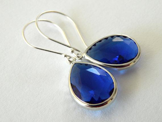 Mariage - Sapphire Blue Earrings, Cobalt Blue Earrings, Wedding Jewelry, Sterling Silver Dangle Earrings