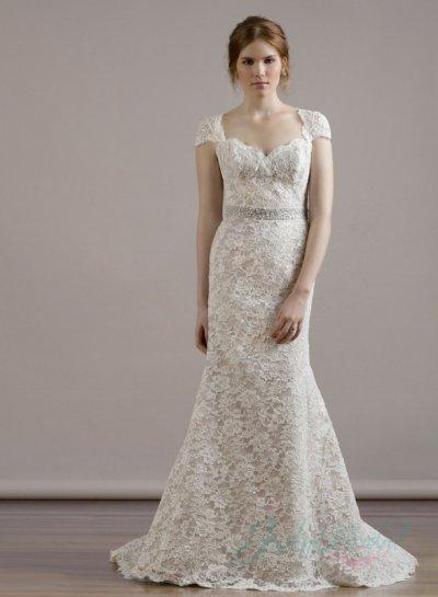 Sweetheart Neck Cap Sleeves Keyhole Back Lace Sheath Wedding Dress