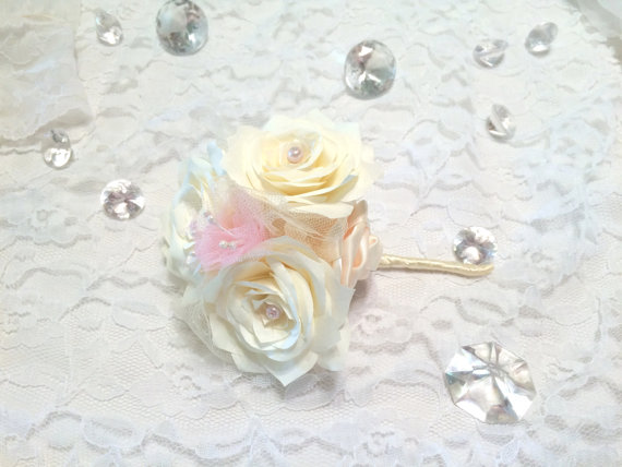 Ivory And Pink Corsages Pin On Corsage Wedding Corsage Groomsmen
