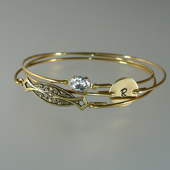 Mariage - Bridesmaid Bangle Gold Bracelet Set, Art Deco, Crystal, Personalized Bangle, Bridesmaid Bracelet, Bridesmaid Jewelry, Wedding Party (S231G.)