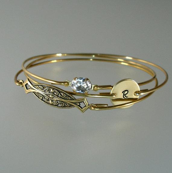 Свадьба - Bridesmaid Bangle Gold Bracelet Set, Art Deco, Crystal, Personalized Bangle, Bridesmaid Bracelet, Bridesmaid Jewelry, Wedding Party (S231G.)