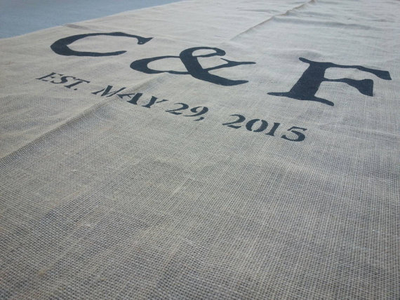 """Свадьба - 48"""" wide Rustic burlap aisle runner with initials and date/ custom sizes available"""