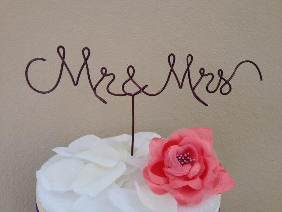 Mariage - Custom Cake Topper - Wedding Cake Topper, Mr & Mrs,Wire Cake Topper, Personalized Cake Topper, Unique Wedding Gift