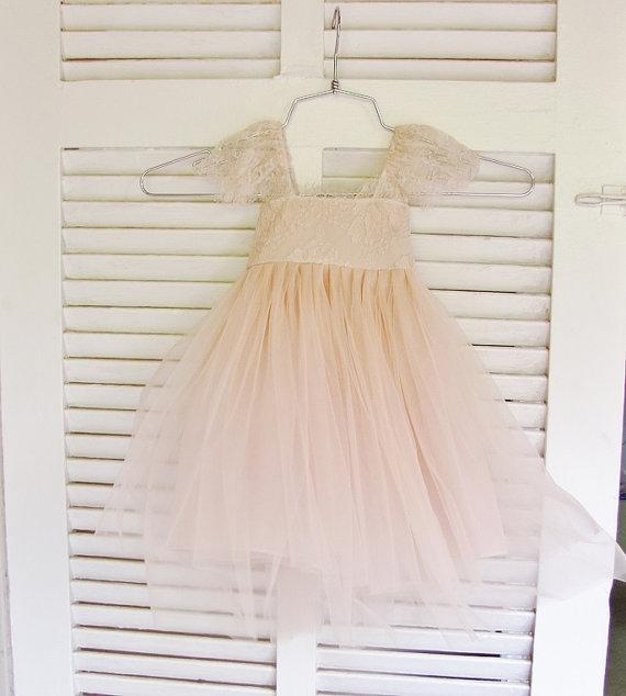 زفاف - Ballade del Vientre Solstiss lace and silk tulle vintage blush dress for baby girl Flower girl dress blush princess dress tutu dress