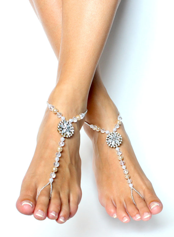 d33c11d022b6 Pearl and Rhinestone Barefoot Sandals Foot Jewelry for Brides and Bridal  Party Beach Wedding Shoes