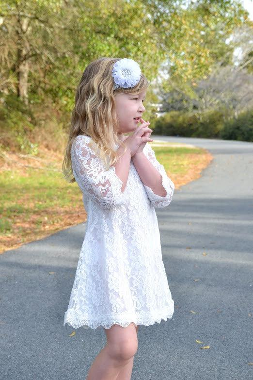 Wedding - White Lace Flower Girl Dress, Lace dress,  Wedding dress, bridesmaid dress,  Vintage Style Dress, Communion Dress, Easter Dress