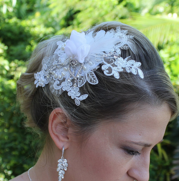 Hochzeit - Couture Bridal Fascinator, Designer Wedding Hair piece, Beaded Lace Bridal Headwear, ANDREA