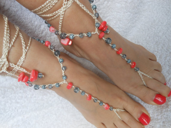 Wedding - Crochet Barefoot Sandals Beach Wedding  Yoga Shoes Foot Jewelry Grey Coral