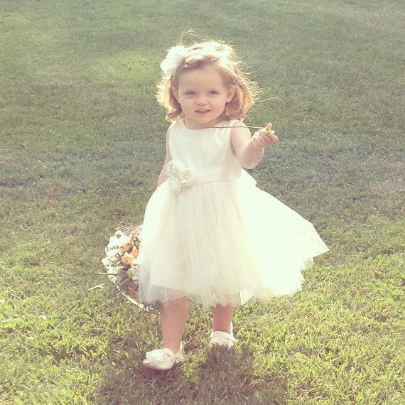 Mariage - Grace .. Flower Girl Dress ... natural  USA Organic cotton...2T-5