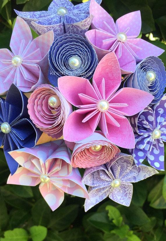 Enchanted Bridal Bouquet Small Paper Flower Bouquet Kusudama