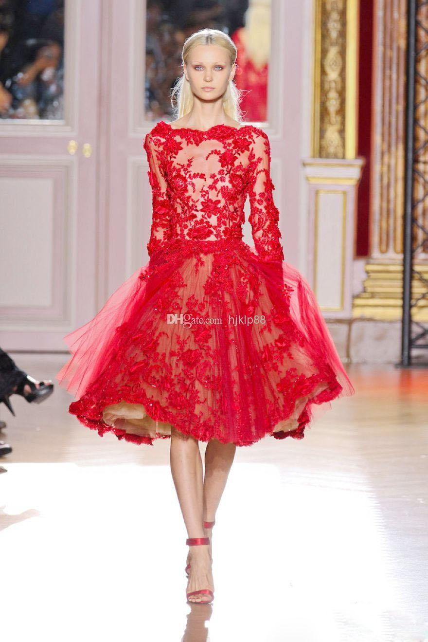 Buy Best Selling Bateau Long Sleeve Red Lace Zuhair Murad Short ...