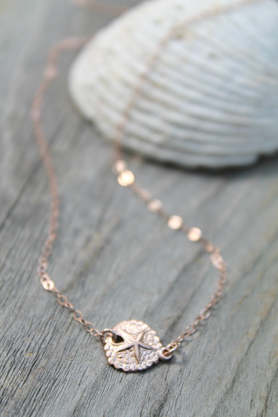 Mariage - 14k Rose gold filled sand dollar Necklace, beach wedding, sea life, delicate everyday jewelry, summer shell, perfect for layering, pink gold