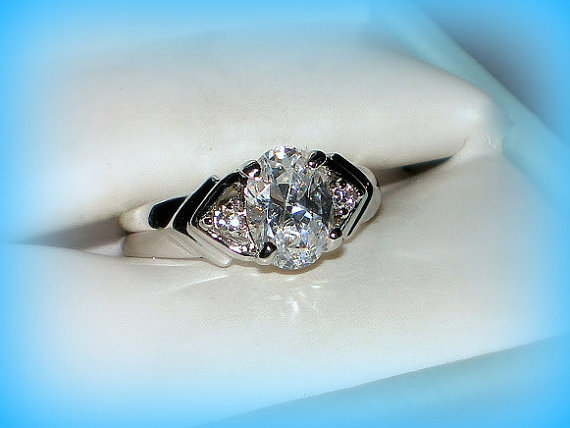 50% SALE Size 6 Vintage Ring CZ Engagement Ring 3 Stone Engagement Ring Fa