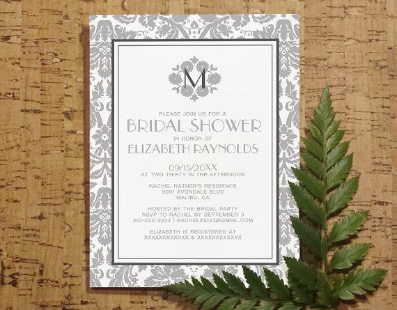 Mariage - Silver Monogram Damask Bridal Invitations, Bridal Shower Invitations, Wedding Party Invites, Printable, Digital PDF, DIY Template, Printed