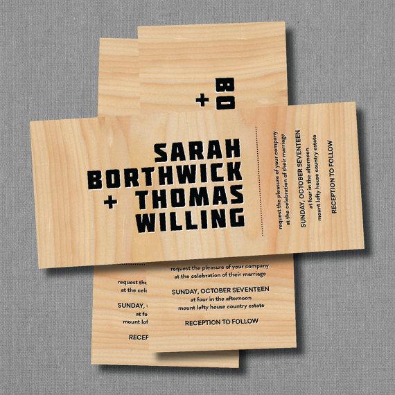 زفاف - WOOD VENEER - Custom Personalised Printable Invitation (We Design, You Print)