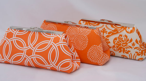 Mariage - Orange Bridesmaids Bag Gift Custom handbag Clutch- Custom Design your Own Wedding Party gift in various patterns and colors