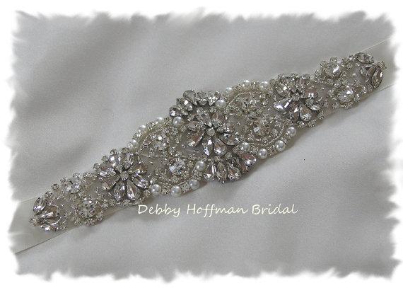 Mariage - SALE ~ Bridal Sash, Pearl Wedding Sash, Crystal Pearl Bridal Belt, No. 4060S, Wedding Accessories, Pearl Wedding Belt, Jeweled Wedding Sash
