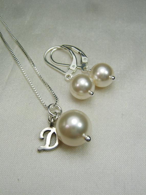 Mariage - Pearl Bridesmaid Jewelry Set - Bridesmaid Necklace and Earring Set - Swarovski Ivory Pearl Bridal Jewelry