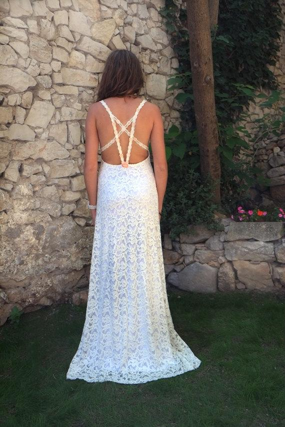 Mariage - Sexy Backless Very Low Open Back Lace Wedding Dress Bridal Halter Beach Wedding Gown Romantic Country Wedding Dress: JULIA Mermaid Dress S/M