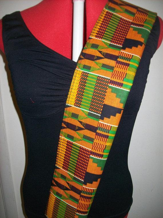 Mariage - Kente #2 African sash, School sash, Wedding sash, Graduation Stoles/ sash, Black History Month Stole, Kente sashes for Church Choirs