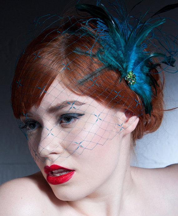 Свадьба - Turquoise Birdcage Veil Or Navy Blue