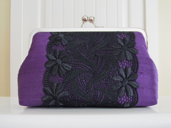Mariage - Vintage Style Silk And Lace Clutch Purple Passion,Bridal Accessories,Wedding Clutch,Bridesmaid Clutch