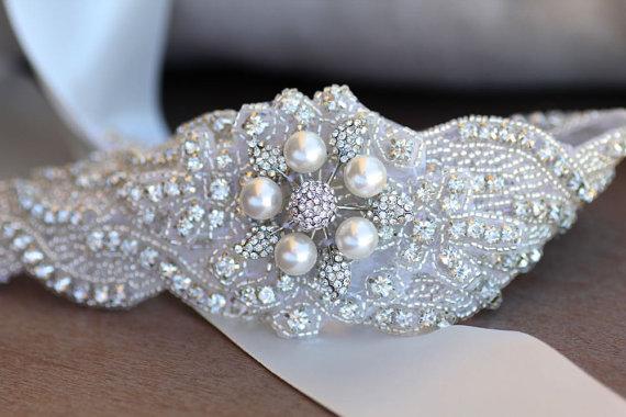 Mariage - Crystal and Pearl Bridal Sash, Wedding Sash, Crystal Beaded Wedding Belt, Vintage Bridal Belt, Reagan