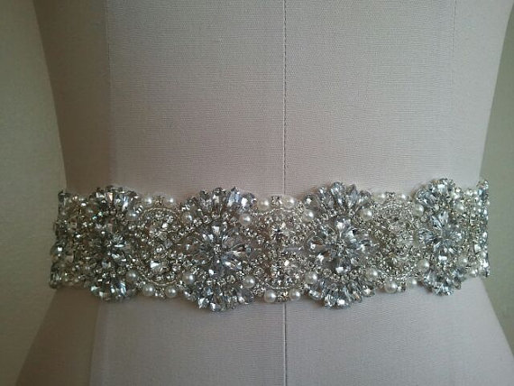 Mariage - SALE -18 inches - Wedding Belt, Bridal Belt, Sash Belt, Crystal Rhinestones & Pearls - Style B2999C