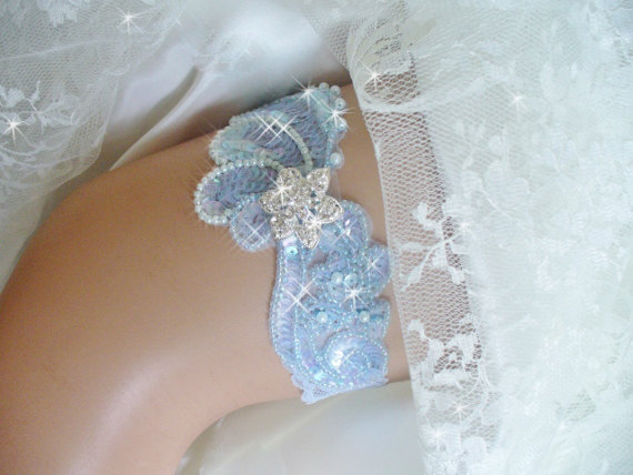 Свадьба - Something Blue Wedding, Powder Blue Wedding Garter Traditions, Bridal Garter Lingerie, Light Baby Blue Sequin Garter, Something Blue Garter