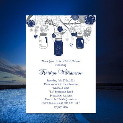 bridal shower invitation template rustic mason jars navy blue and gray make your own w editable word instant download diy u print