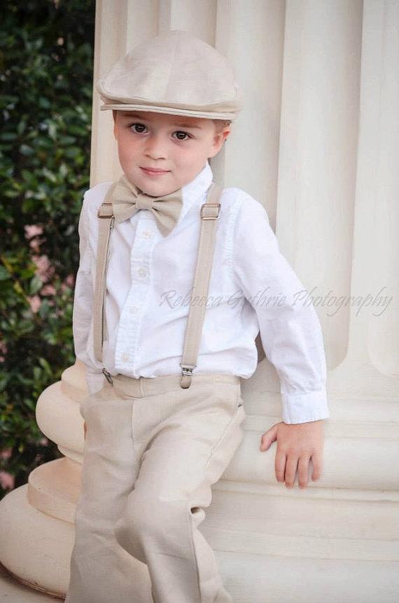 Linen Ring Bearer Newsboy Hat Wedding Outfit For Ringbearer