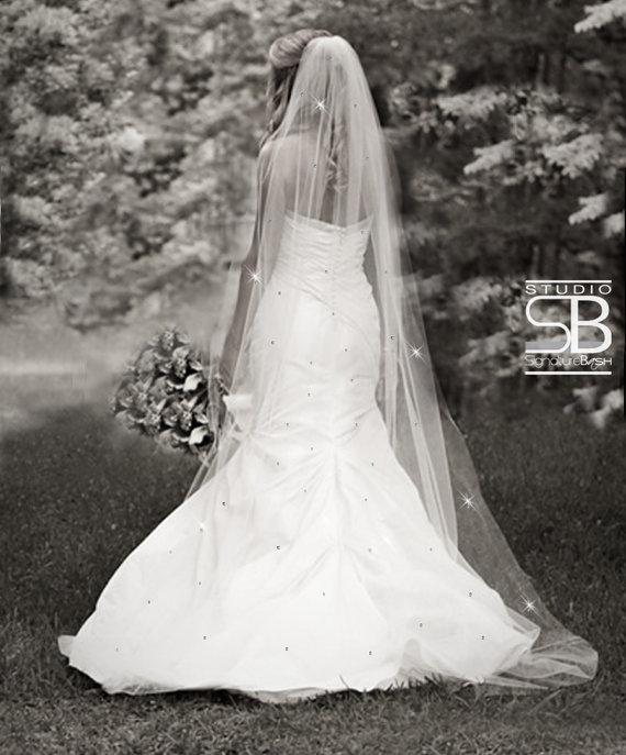Swarovski Rhinestones Veil Single Tier Bridal Ivory Diamond White Or Wedding