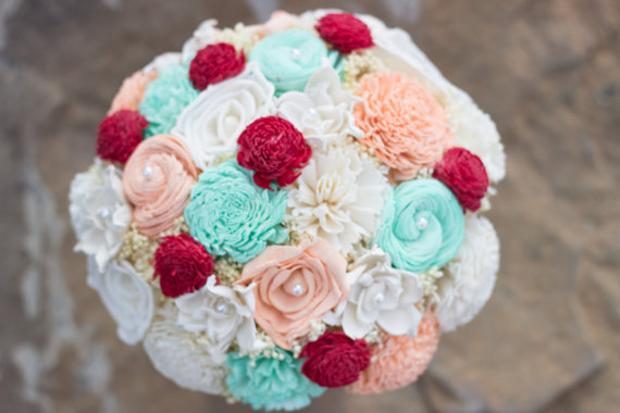 Mariage - Wedding Bouquet, Peach, Mint, Red, Bridal Bouquet, Sola Flower Bouquet, Keepsake Bouquet, Handmade Bridal Bouquet