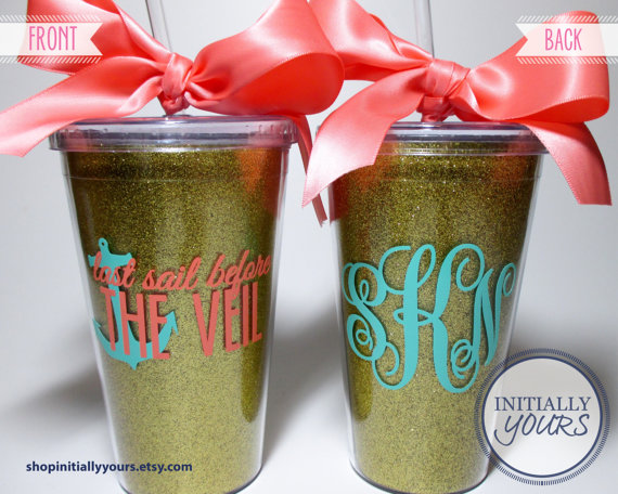 Mariage - Personalized Last Sail Before The Veil Bachelorette Tumblers / Glitter Acrylic Cups / Anchor Nautical Theme
