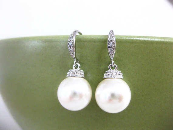 Wedding - Swarovski 8mm or 10mm Round Pearl Earrings Earrings Bridesmaid Gift Wedding Jewelry Gift Bridal Earrings (E030)