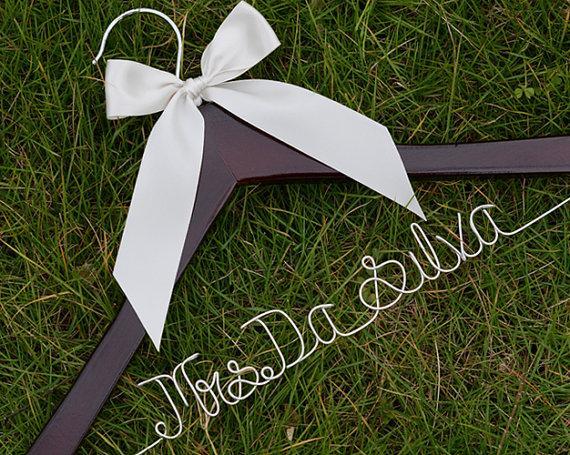 Wedding - Promotion, Single Line Wire Name Hanger, Custom Wedding Hanger, Personalized Bridal Hanger, Bridesmaids Name Hanger