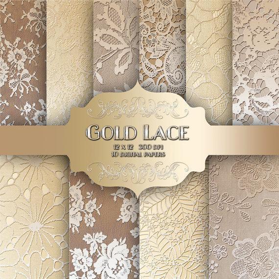 زفاف - Gold LACE Digital Paper Pack - Vintage wedding metal gold lace pattern backgrounds for scrapbooking, wedding invitations - Commercial use