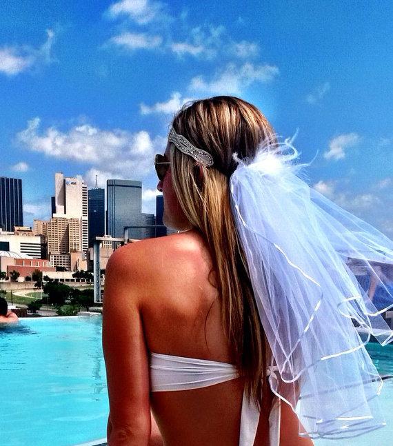 Wedding - Boho Headband and Bachelorette Head Veil - Unique on trend bachelorette Party style