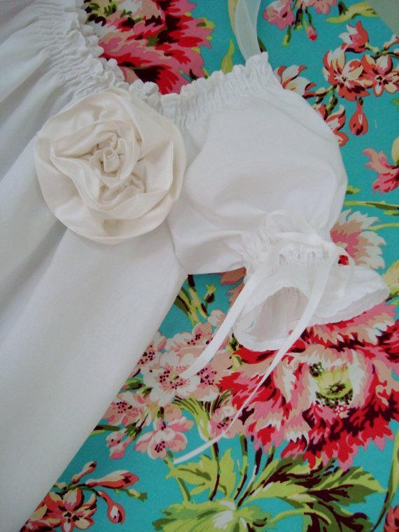 Mariage - The Simple White Dress, Silk Rose, Silk Ribbon Sleeves  Flower Girl Dress