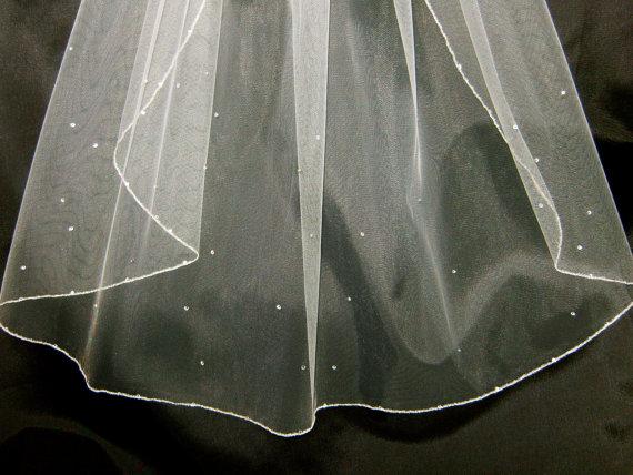 زفاف - Rosa II a Swarovski Crystal Rhinestone Sheer 36 Inch Long Fingertip Length Veil with Silver Pencil Edge Trim
