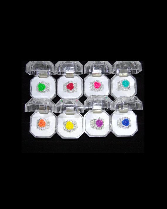 زفاف - Custom Color Rose Ring Adjustable Flower Ring Vintage Style Filigree Ring Bridesmaid Jewelry Bridal Party Wedding Ring Personalized Jewelry