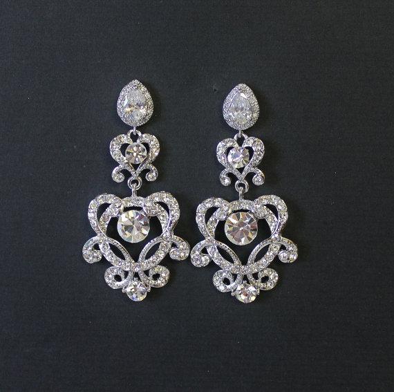 زفاف - Crystal Chandelier Earrings, Crystal Bridal Earrings, Art Deco Earrings, Rhinestone Earrings, Bridal Jewelry,  Wedding Jewelry LONDON 2
