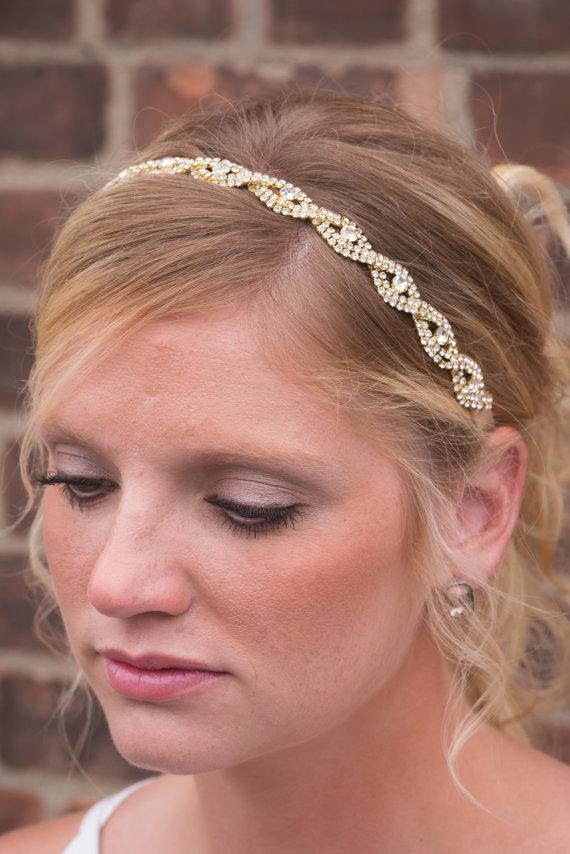 Wedding - bridal Headpiece, Rhinestone Headband, Women's Headband, Gold Rhinestone Headband