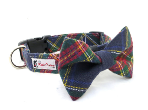 Wedding - Red, Green, Navy Blue and Yellow Plaid Dog Collar (Bow Tie Sold Separately)
