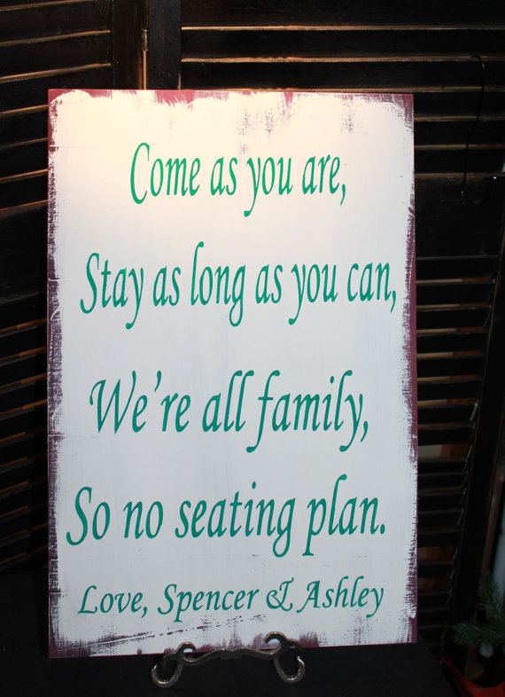 """Свадьба - Wedding signs/ Reception tables/Seating Plan/ """"Come as you are, Stay as long as you Can, We're all family, So no seating plan/Peacock Colors"""