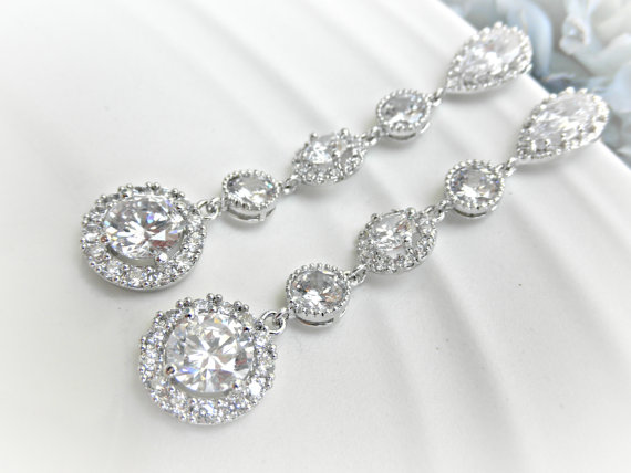 Long Wedding Earrings Rhinestone Bridal Lux