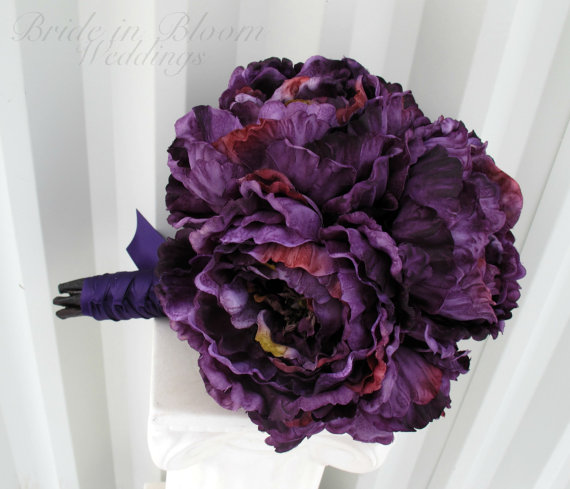Mariage - Silk Wedding bouquet Purple peony Brides bouquet