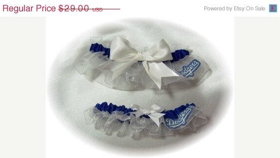 Wedding - SALE Handmade Wedding Garter Set LA Dodgers Keepsake and Toss LA Bridal wrw